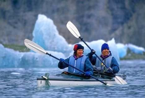 Couple Kayaking in Glacier bay